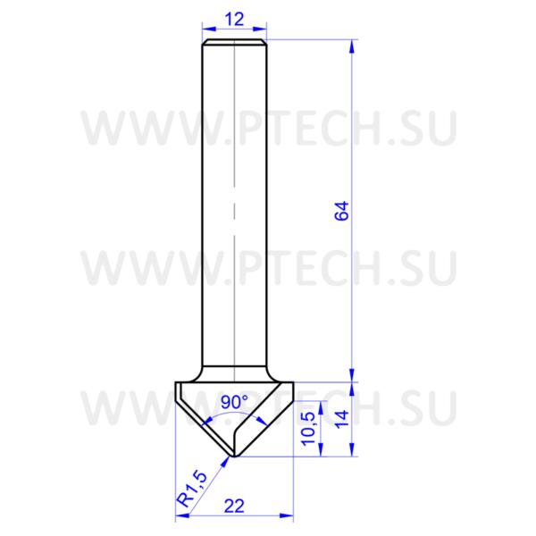 Алмазная фреза 13600 (по композитным материалам, дереву, МДФ, ЛДСП, пластику) c углом 90º (для ручного фрезера и ЧПУ станков) - ПРОМТЕХКОМПЛЕКТ