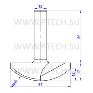 Концевая фреза твердосплавного типа филенка для ЧПУ станка для обработки фасада из материала МДФ 13605 - ПРОМТЕХКОМПЛЕКТ