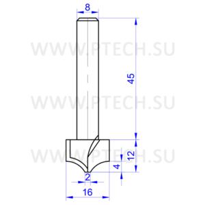 Концевая фреза твердосплавного типа филенка для ЧПУ станка для обработки фасада из материала МДФ 13635 - ПРОМТЕХКОМПЛЕКТ
