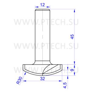 Концевая фреза 918 твердосплавного типа филенка для ЧПУ станка для обработки фасада из материала МДФ - ПРОМТЕХКОМПЛЕКТ