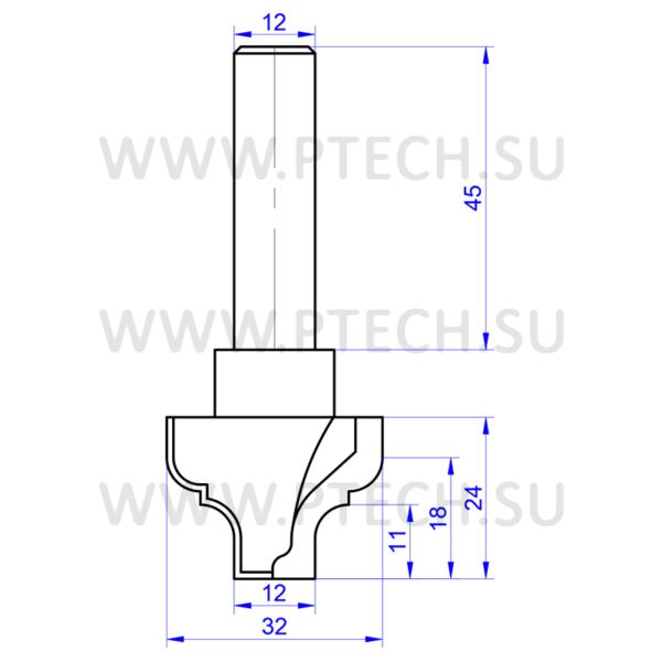 Концевая фреза твердосплавного профильная для ЧПУ станка для обработки фасада из материала МДФ ФК 0420 - ПРОМТЕХКОМПЛЕКТ