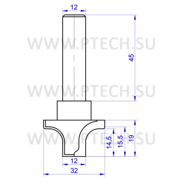 Концевая фреза 0614 твердосплавного типа филенка для ЧПУ станка для обработки фасада из материала МДФ - ПРОМТЕХКОМПЛЕКТ