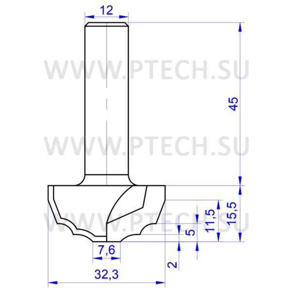 Концевая фреза твердосплавного профильная для ЧПУ станка для обработки фасада из материала МДФ 0074 - ПРОМТЕХКОМПЛЕКТ
