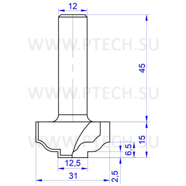 Концевая фреза твердосплавного профильная для ЧПУ станка для обработки фасада из материала МДФ 0062 - ПРОМТЕХКОМПЛЕКТ
